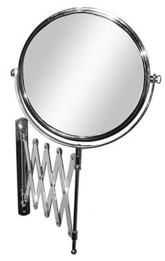 4 times magnification Chrome scissor arm wall mount magnifying mirror.