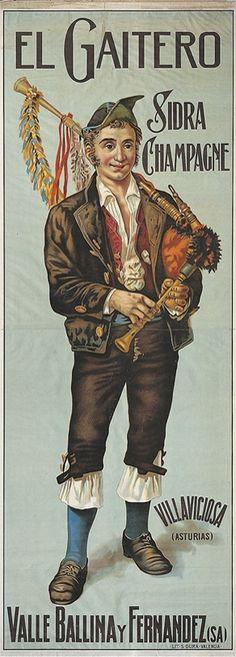 Cartel de Sidra Champagne El Gaitero, 1910