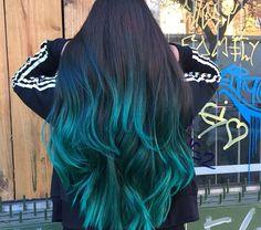 Pretty Hair Color, Beautiful Hair Color, Hair Color For Black Hair, Green Hair, Girl Hair Colors, Hair Dye Colors, Teal Ombre Hair, Ombre Hair Brunette, Turquoise Hair Color