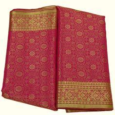 Indian Art Silk Woven Zari Brocade Heavy Saree Dress Craft Fabric Hot Pink Rani - Sarees