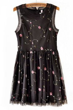 Black Sleeveless Vine Embroidery Lace Dress pictures