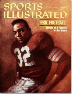 Sports Illustrated, September 1966 Illustration of Jim Brown by Daniel Schwartz Browns Players, Sports Magazine Covers, Best Running Backs, Si Cover, Browns Football, Football Field, Sports Illustrated Covers, Jim Brown, American Football Players