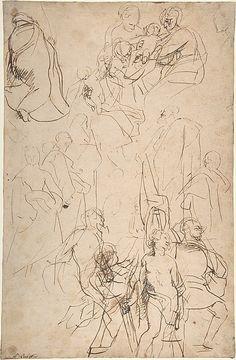 Peter Paul Rubens (Flemish, Siegen 1577–1640 Antwerp) The Virgin Adored by Saints (recto); Copy after the Torso Belvedere (verso)