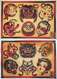 Dissenys de Paz Buñuel. incredibles. -(Este sábado 29 de noviembre Paz Buñuel estará en Treze Labs Tattoo, Castelló, tiene disponibles estos bonitos diseños inspirados en el teatro japonés. Interesad@s contacten con el estudio o con ella directamente.)