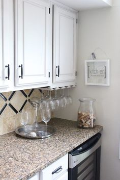 A Fresh White Kitchen | My Life From Home-Room by Room- kitchen- home decor- Do it Yourself- DIY- DIY projects- room design- rustic home decor- decoration ideas- room decor ideas- white kitchen- painted cabinets- farmhouse kitchen- wine- beverage station