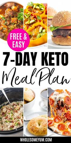 Free 7-Day Keto Meal Plan For Beginners | Wholesome Yum Free Keto Meal Plan, Ketogenic Diet Meal Plan, Ketogenic Recipes, Real Food Recipes, Diet Recipes, Cooking Recipes, Healthy Recipes, Recipe With 10 Ingredients, Best Keto Meals