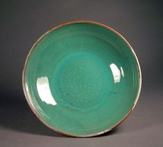 Hand thrown pottery, green gloss glaze. Wow - look at that glaze..