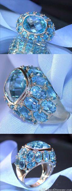 Huge Blue Topaz Ring, 14.82 ct. WG14K - Visit: schmucktraeume.com Like: https://www.facebook.com/pages/Noble-Juwelen/150871984924926 Mail: info@schmucktraeume.com