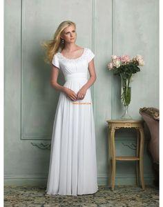 A-Linie bodenlang Reißverschluss Günstige Brautkleider
