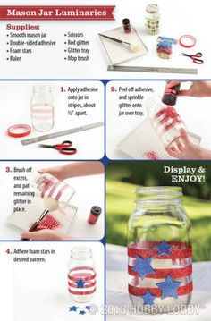 Scatter red, white, and blue all around your home! Mason jar luminaries will add a small glow to any outdoor festivities!