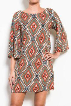 Shaped Diamond Print Dress