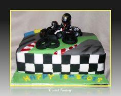 Go Karting Kart Themed Cake I Made The Model Out Of  cakepins.com Go Kart Party, Race Car Party, 16th Birthday, Birthday Cakes, Birthday Ideas, Go Kart Racing, Wreck It Ralph, Karting, Cupcake Cakes