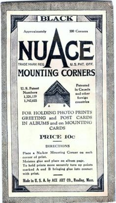 Vintage, 100 Black NuACE Mounting Corners For Photo Albums, Pictures, Arts, Cards 1930