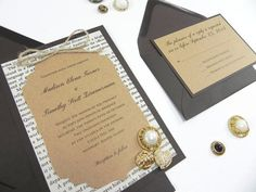 "Rustic Victorian Style Book Page 4 Piece Wedding Invitation Suite- ""Weathered Elegance"""