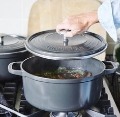 """Have you check out the """"SimmerLite""""  from @GreenPan yet?  It  offers the same cooking experience as cast iron without the frustration!  What is your favorite winter comfort food made in a dutch oven? #GreenPan #DutchOven #Casseroles #SimmerLite #Cookware"""
