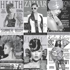 40 Years Fashion Black and White - Coloroll Wallpapers - A fun and vibrant wallpaper design featuring magazine covers from various decades. Shown here in black and white. Other colourways are available. Please request a sample for a true colour match. Wallpaper For Sale, Cover Wallpaper, Newspaper Wallpaper, White Brick Wallpaper, Black And White Wallpaper, Black White, Photo Pattern, Hair Magazine, Hair And Beauty Salon