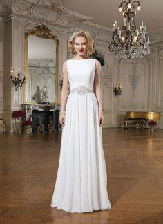 Boat Neck Wedding Dress With Sash Sabrina Neckline Beach Dresses 2017