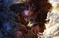 Heaven's Gate-Activation Framed Art Print by apillustr Art Black Love, Black Couple Art, Art Couple, Sexy Black Art, Black Girl Art, Art Girl, Black Art Painting, Black Artwork, African American Art