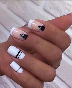 Stylish Nails, Trendy Nails, White Nails, Pink Nails, Nail Manicure, Gel Nails, Stiletto Nails, Nagellack Design, Short Square Nails