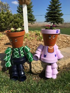 Clay Pot People Clay Pot Projects, Clay Pot Crafts, Diy Clay, Flower Pot People, Clay Pot People, Tin Can Flowers, Clay Pots, Flower Pots, Planter Pots