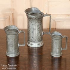 Set Of 3 Pewter Measuring Cups