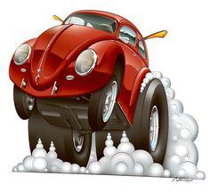 Volkswagen – One Stop Classic Car News & Tips Vw Bus, Arte Pink Floyd, Cartoon Car Drawing, Cool Car Drawings, Garage Art, Bike Art, Automotive Art, Car Humor, Vw Beetles