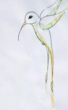 Hummingbird Watercolor and balck ink pen