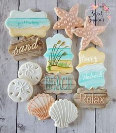 "Louis today, I probably should have entitled this post, ""Top 10 (Dog Days of) Summer Cookies""! Summer Cookies, Fancy Cookies, Iced Cookies, Cute Cookies, Royal Icing Cookies, Cupcake Cookies, Cupcakes, Sugar Cookie Icing, Cookie Favors"