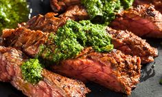 Buy Homemade Cooked Skirt Steak with Chimichurri by on PhotoDune. Homemade Cooked Skirt Steak with Chimichurri Sauce and Spices Chimichurri Sauce Recipe, Steak With Chimichurri Sauce, Skirt Steak Recipes, Grilled Steak Recipes, Spicy Steak, Grilled Meat, Grilling Recipes, Onion Recipes, Sauce Recipes