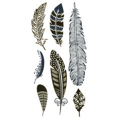 Feather Metallic Temporary Tattoos ($5.99) ❤ liked on Polyvore featuring accessories, body art, fillers, tattoos, backgrounds, extra and gold