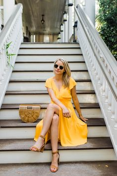 YELLOW MIDI WRAP DRE