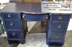 """Adornment, https://www.facebook.com/adornment2012?fref=ts, used GF Coastal Blue Milk Paint on this beauty. Our Coastal Blue has been called the """"perfect navy"""". Try it on your next refinished piece!"""