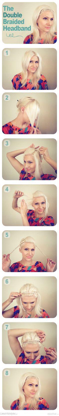 Double braided headband tutorial-- wish my hair was long enough! Braid Headband Tutorial, Braid Hairband, Braided Headbands, Braided Scarf, Scarf Tutorial, Flower Tutorial, Tips Belleza, Pretty Hairstyles, Headband Hairstyles