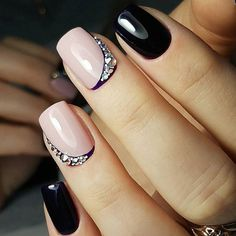 41 Sweet Black Nail Art Design Spring for Teen Girls - Nails 03 Nail Designs 2017, Black Nail Designs, Cool Nail Designs, Black Manicure, Nail Manicure, Gel Nails, Manicure Tools, Black Nail Art, Black Nails