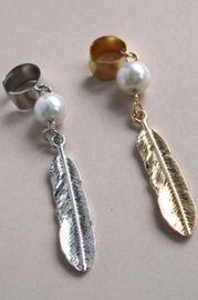 Pearl Leaf Drop Single Earcuff - Earrings