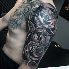 Nice Male Compass And Rose Half Sleeve Tattoos