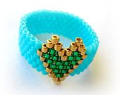 Velentine's Ring.Turquoise Ring With Gold Emerald Heart. Beadwoven Ring. Valentine's Day Gift Under 20.
