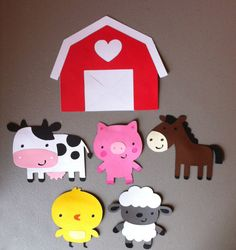 Set of 6 Farm Animals  Barn Cow Pig Horse Chick by MakelleDesigns, $3.75
