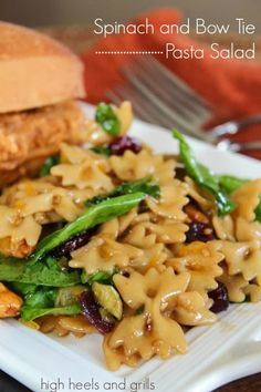 This pasta salad tastes amazing! #recipe #side #easy #potluck http://www.highheelsandgrills.com/2013/10/spinach-and-bow-tie-pasta-salad.html