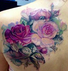 Colorful rose tat