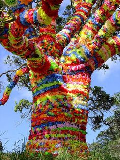 Splore 2010 tree of life, Splore Festival, New Zealand Land Art, Street Art, Instalation Art, Urbane Kunst, Knit Art, Yarn Bombing, Outdoor Art, Over The Rainbow, Color Of Life