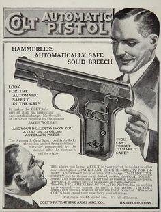 1912 Ad Colt Firearms .380 Automatic Pistol