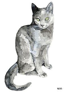 Grey Cat peinture - impression de ma peinture aquarelle originale, « Luna », Pet Decor, chat, chaton, Cat Print, peinture chat