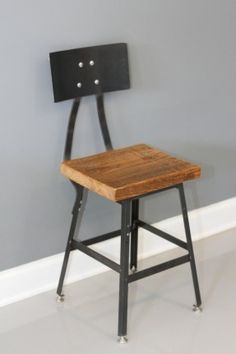 Industrial Barstool with Back, Industrial Stool, Bar Stool, Shop Stool, Metal Stool, Reclaimed Wood, Furniture Store, Wooden Furniture by DendroCo on Etsy