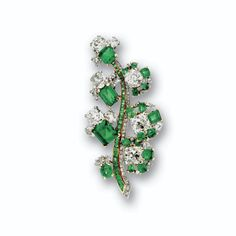 Emerald and diamond brooch, <P>mounted by Cartier, Paris, circa 1940</P> | Lot | Sotheby's