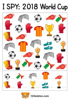 I SPY - Football World Cup Free Worksheets and Activities for Kids. Spy Games For Kids, English Worksheets For Kids, Preschool Worksheets, Preschool Activities, Free Worksheets, World Cup Kits, Third Grade Reading, Hidden Pictures, H&m Kids
