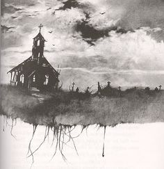 church, creepy, dark, gothic, graveyard, illustration