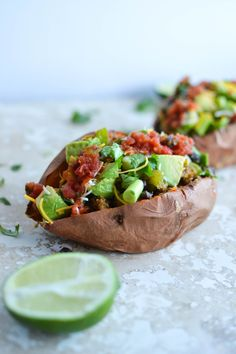 Vegetarian Loaded Sweet Potatoes are vegan and gluten-free optional! Try this simple and hearty dish for an easy weeknight meal!