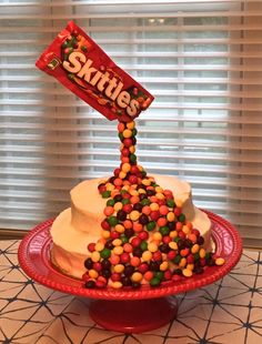 Anti-gravity skittle cake, ALLERGY FREE :)