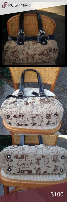 Vintage Coach Purse. Vintage Coach Purse. Featuring the horse and buggy. This purse is still like new. Very gently used. Has large zipper inside pocket and 2 smaller inside pockets. This bag is black, Tan and Brown In Color. Coach Bags Shoulder Bags